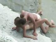 Ein Amateur Paar Sex gefilmt machen am Strand