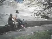 Trio Sex in öffentlichen Park mit Freundin